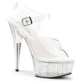 Gennemsigtig 15 cm Pleaser DELIGHT-608MG glitter plateau high heels sko