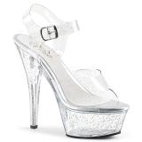 Gennemsigtig 15 cm Pleaser KISS-208MMG glitter plateau high heels sko