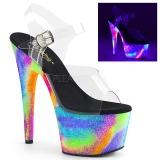 Gennemsigtig 18 cm ADORE-708GXY Neon plateau high heels sko
