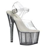 Gennemsigtig 18 cm ADORE-708MG glitter plateau high heels sko