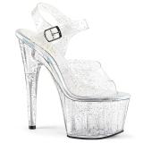Gennemsigtig 18 cm ADORE-708MMG glitter plateau high heels sko