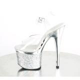 Gennemsigtig 18 cm ESTEEM-708CHLG højhælede sandaler - pole dance sandaler sølv