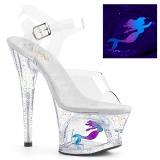Gennemsigtig 18 cm MOON-708MER Neon plateau high heels sko
