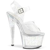 Gennemsigtig 18 cm Pleaser SKY-308MMG glitter plateau high heels sko