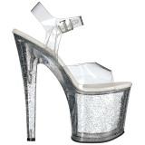 Gennemsigtig 19 cm TABOO-708MG glitter plateau high heels sko