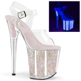 Gennemsigtig 20 cm FLAMINGO-808UVG glitter plateau high heels sko