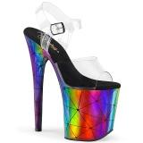 Gennemsigtig 20 cm FLAMINGO-808WR Hologram plateau high heels sko