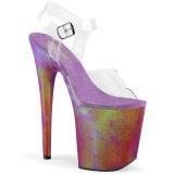Gennemsigtig 20 cm FLAMINGO-808WR2 Hologram plateau high heels sko