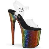 Gennemsigtig 20 cm FLAMINGO-808WR3 Hologram plateau high heels sko