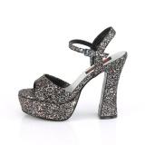 Glitter 13 cm DOLLY-09 demonia højhælede sko med blokhæl
