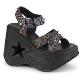 Glitter 13 cm Demonia DYNAMITE-02 lolita sandaler med kilehæle