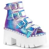 Glitter Vegan 9 cm ASHES-70 lolita plateau ankelstøvler med blokhæl til kvinder