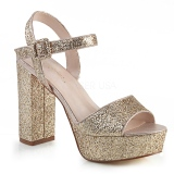 Gold 11,5 cm CELESTE-09 glitter platform sandals with block heels