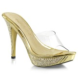 Gold 11,5 cm ELEGANT-401 Rhinestones platform mules womens