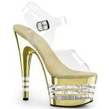 Gold 18 cm ADORE-708CHLN High Heeled Sandal Chrome Platform