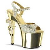 Gold 18 cm Pleaser REVOLVER-709G High Heels Chrome Platform
