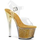 Gold 18 cm SKY-308G-T glitter platform sandals shoes