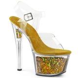 Gold 18 cm SKY-308GF glitter platform sandals shoes