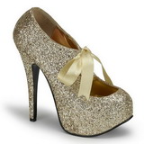Gold Glitter 14,5 cm TEEZE-10G Platform Pumps Shoes