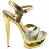 Gold Glitter 16,5 cm Pleaser ECLIPSE-619G Platform Stiletto High Heels