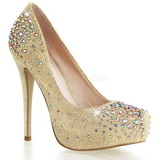 Gold Rhinestone 13 cm DESTINY-06R Platform Pumps Women Shoes