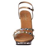 Gold Rhinestone 13 cm LIP-133 Acrylic Platform High Heeled Sandal