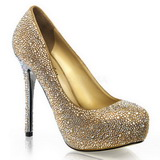 Gold Rhinestone 13 cm PRESTIGE-20 Platform Pumps Women Shoes
