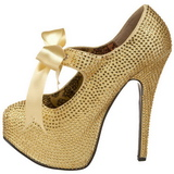 Gold Rhinestone 14,5 cm Burlesque TEEZE-04R Platform Pumps Women Shoes