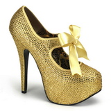 Gold Rhinestone 14,5 cm TEEZE-04R Platform Pumps Women Shoes