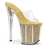 Gold Rhinestone 20 cm FLAMINGO-801SRS womens mules shoes