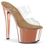 Gold chrome platform 18 cm SKY-302 pleaser high heel mules