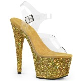 Gold glitter 18 cm Pleaser ADORE-708LG Pole dancing high heels shoes