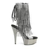 Grå 15 cm DELIGHT-1017RSF ankelstøvler til damer med frynser