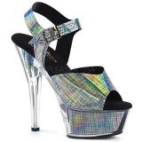 Grå 15 cm KISS-208N-CRHM Hologram plateau high heels sko
