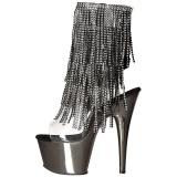 Grå 18 cm ADORE-1017RSF ankelstøvler til damer med frynser