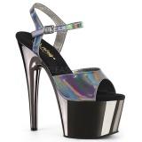 Grå 18 cm ADORE-709HGCH Hologram plateau high heels sko