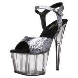 Grå 18 cm ADORE-710GT glitter plateau high heels sko