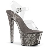Grå 18 cm SKY-308LG glitter plateau high heels sko