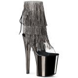 Grå 20 cm XTREME-1017RSF ankelstøvler til damer med frynser
