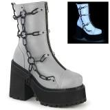 Grå Vegan 12 cm ASSAULT-66 lolita plateau ankelstøvler med blokhæl til kvinder