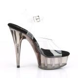 Grå gennemsigtig 15 cm DELIGHT-608T højhælede sko - pole dance sko