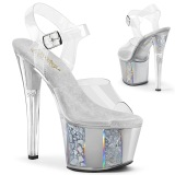 Grå gennemsigtig 18 cm SKY-308OF højhælede sko - pole dance sko