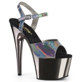 Gray 18 cm ADORE-709HGCH Hologram platform high heels shoes