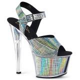 Gray 18 cm SKY-308N-CRHM Hologram platform high heels shoes
