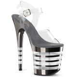 Gray 20 cm FLAMINGO-808CHLN High Heeled Sandal Chrome Platform