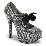 Gray Rhinestone 14,5 cm TEEZE-04R Platform Pumps Women Shoes