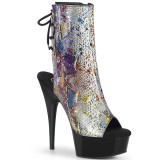 Gray transparent 15 cm DELIGHT-1018SP Exotic stripper ankle boots
