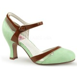 Green 7,5 cm retro vintage FLAPPER-27 Pinup Pumps Shoes with Low Heels