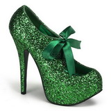 Green Glitter 14,5 cm TEEZE-10G Platform Pumps Shoes