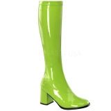 Green Patent 8,5 cm Funtasma GOGO-300 Women Knee Boots